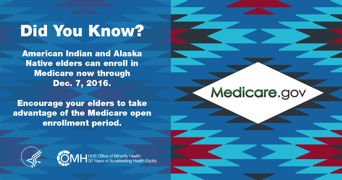Did you know? American Indian and Alaska Native elders can enroll in Medicare now through Dec. 7, 2016. - #GetCovered Now - http://www.HealthCare.gov - HHS - OMH - American Heritage
