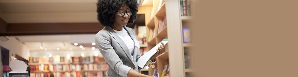 African American woman in library