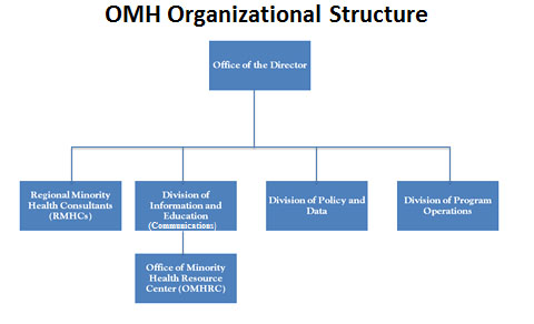 The following text provides an explanation of the current organizational structure of the Office of Minority Health at the Department of Health and Human Services.