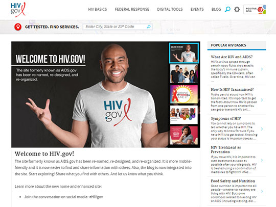 Screenshot of HIV.gov homepage