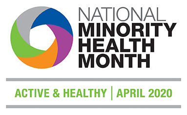 hiresolution National Minority Health Month 2020 logo English