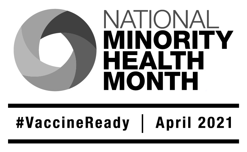 low resolution National Minority Health Month 2021 logo English black and white