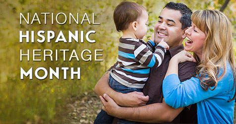 National Hispanic Heritage Month - Wife and husband holding child